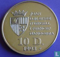 "Andorra 10 diners 1993 (PROOF) ""1994 Football World Cup in United States"""