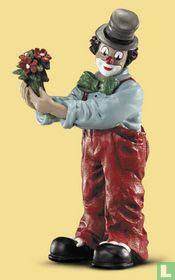 Gilde clown, boeket bloemen