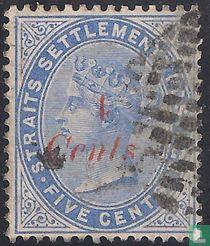 Queen Victoria, with overprint