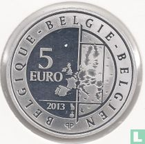 """Belgium 5 euro 2013 (PROOF - uncolored) """"75th anniversary of Spirou - Robbedoes"""""""