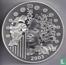 """France 50 euro 2003 (PROOF - silver) """"First anniversary of the euro"""""""