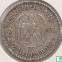 "Duitse Rijk 2 reichsmark 1934 (G) ""1st Anniversary of Nazi Rule - Potsdam Garrison Church"""