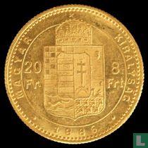 Hongarije 8 forint / 20 francs 1886