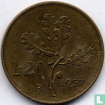 Italië 20 lire 1957 (plain 7)