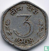 India 3 paise 1968 (Hyderabad, type 2)