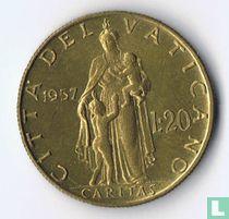 Vaticaan 20 lire 1957