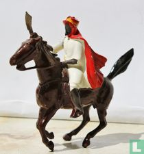 Arab on horse with scimitar red cloak