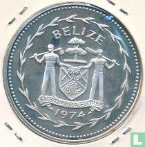 """Belize 10 dollars 1974 (PROOF - zilver) """"Great curassow"""""""