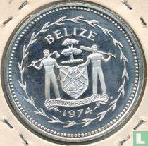 """Belize 5 dollars 1974 (PROOF - zilver) """"Keel-billed toucan"""""""