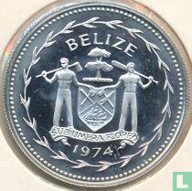 "Belize 1 dollar 1974 (PROOF - zilver) ""Scarlet macaw"""