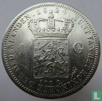 Netherlands 1 guilder 1824 (with a line between crown and coat of arms)