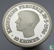 "Denemarken 10 kroner 1986 (PROOF) ""18th Anniversary of the Crown Prince Frederik"""
