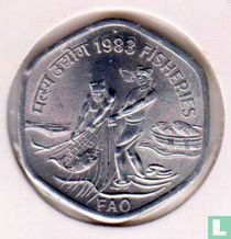 """India 20 paise 1983 (Hyderabad) """"FAO - World Food Day - Fisheries"""""""