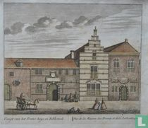 Gesigt van het Frater huys en Bibliotheek' // Vue de la Maison des Freres, et de la Bibliotheque.