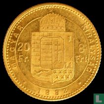 Hongarije 8 forint / 20 francs 1882