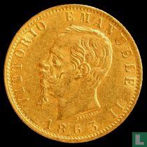 Italië 20 lire 1863