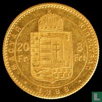 Hongarije 8 forint / 20 francs 1888