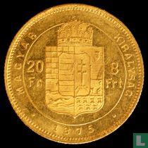 Hongarije 8 forint / 20 francs 1875