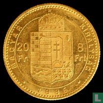 Hongarije 8 forint / 20 francs 1885