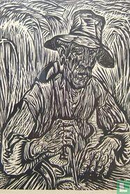 Landarbeider met zeis in korenveld