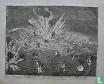 afbeelding der werking van Gianibellies brandtscheepen tegens de Schipbrug des Prinsen van Parma over de Schelde.