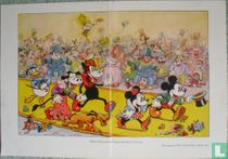 Mickey Mouse and his retinue arriving at the party
