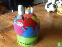 Snoopy spaarpot wereldbol