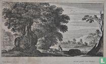 Landschap met herder met links grote bomen en rechts op achtergrond een landhuis