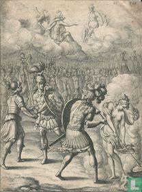 Klassieke voorstelling met militairen en goden