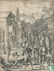 Klassieke voorstelling met een koning bij ruïnes