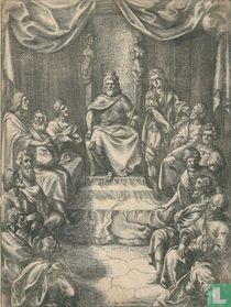 Klassieke voorstelling met een koning op zijn troon
