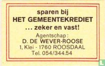 Het Gemeentekrediet - D. De Wever-Roose