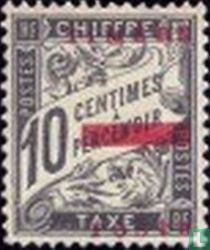 Figure on banderole, with overprint