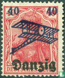 Germania, bedruckt (Flugzeuge und neuen Wert)