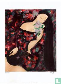 Femme à l'orchidée bleue