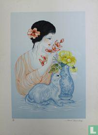 Jeune fille au chat et au vase blue