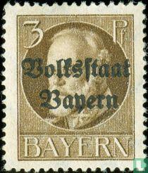 """Koning Ludwig III met opdruk """"Volksstaat Bayern"""""""