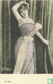 Vrouw met Lila jurk