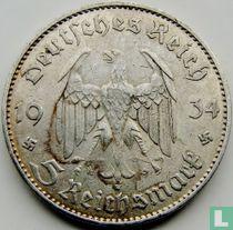 "Duitse Rijk 5 reichsmark 1934 (J - zonder datum) ""1st Anniversary of Nazi Rule - Potsdam Garrison Church"""