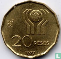 """Argentina 20 pesos 1977 """"1978 Football World Cup in Argentina"""""""
