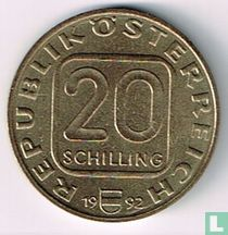"""Austria 20 schilling 1992 """"200 years Diocese Linz"""""""
