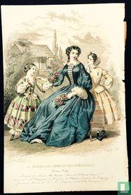 Modes de Plé Horiaux, une femme et deux filles donant bouquet de fleurs - 407