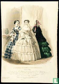Toilettes de la mademoiselle Lhopiteau, trois femmes, une robe de mariage (1850-1853) - 443