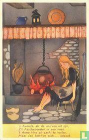 2. Asschepoester huilend bij het vuur