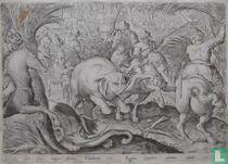 Sic fostis foneis magno stridore Elephantes Agmine coneniunt, capiuntur cuspidis ictu