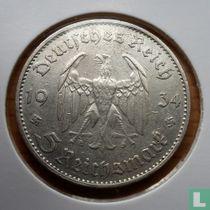 "Duitse Rijk 5 reichsmark 1934 (G - met datum) ""1st Anniversary of Nazi Rule - Potsdam Garrison Church"""