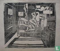 Vrouwelijk naakt in slaapkamer