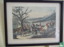 ESTAMPE CHASSE A COURRE BAGGING THE FOX PAR CHARLES LORAINE SMITH 1826