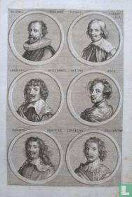 Portretten van: Michiel Jansz. van Mierevelt (1566-1641); Jacques Callot (1592-1635); Gerard Hermansz. van Honthorst (1592-1656); Antoon van Dyck (1599-1641); Adriaen Brouwer (1605-1638); Cornelis van Poelenburch (ca. 1594 - 1667).