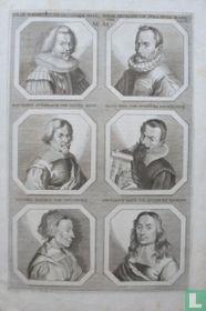 Portretten van: Johannes Torrentius (1589-1644); Wendel Dietterlin (ca. 1550 - 1599); Matthäus Gundelach (1566-1653); Elias Holl (1573-1646); Susanna Mayr (1600-1674); en Johann Ulrich Mayr (1629-1704).